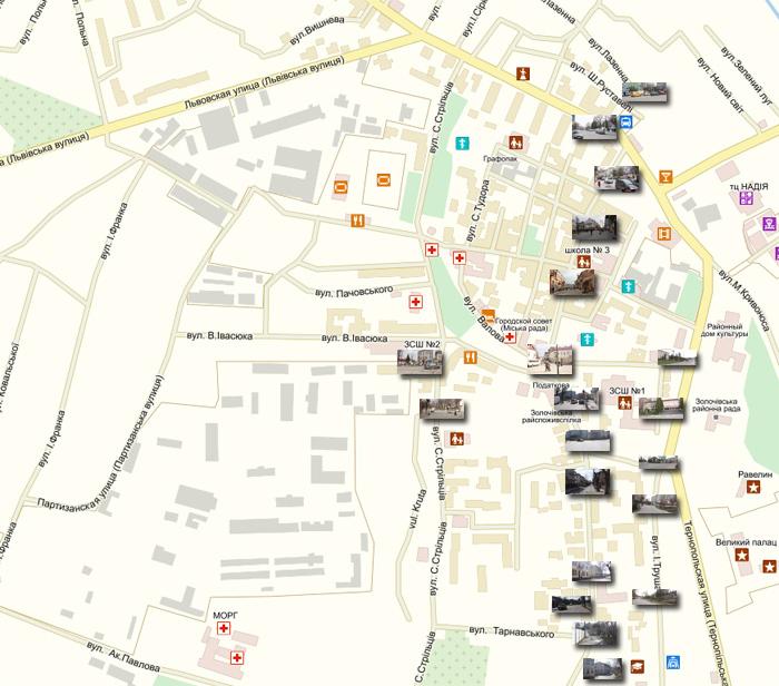 Карта розташування Золочівського колежу